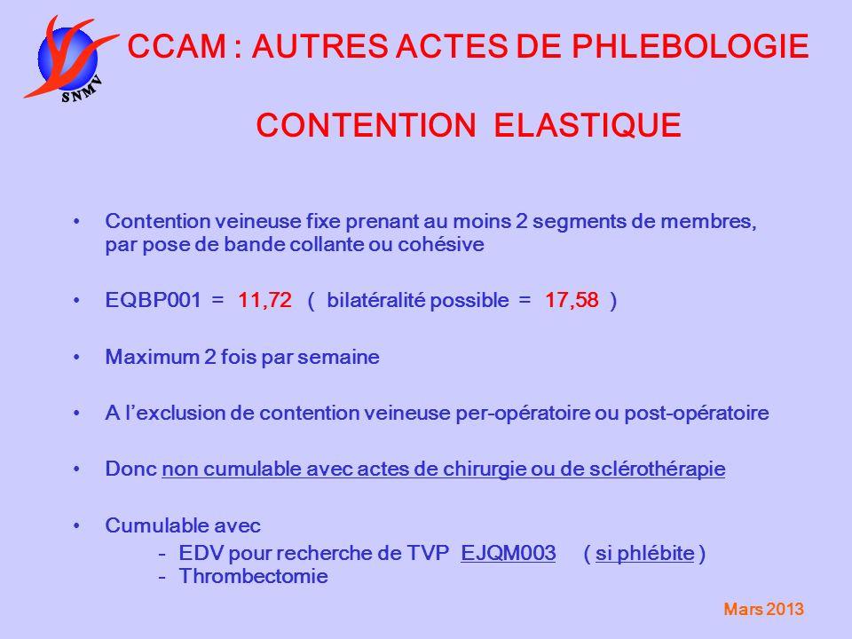 CCAM : AUTRES ACTES DE PHLEBOLOGIE CONTENTION ELASTIQUE