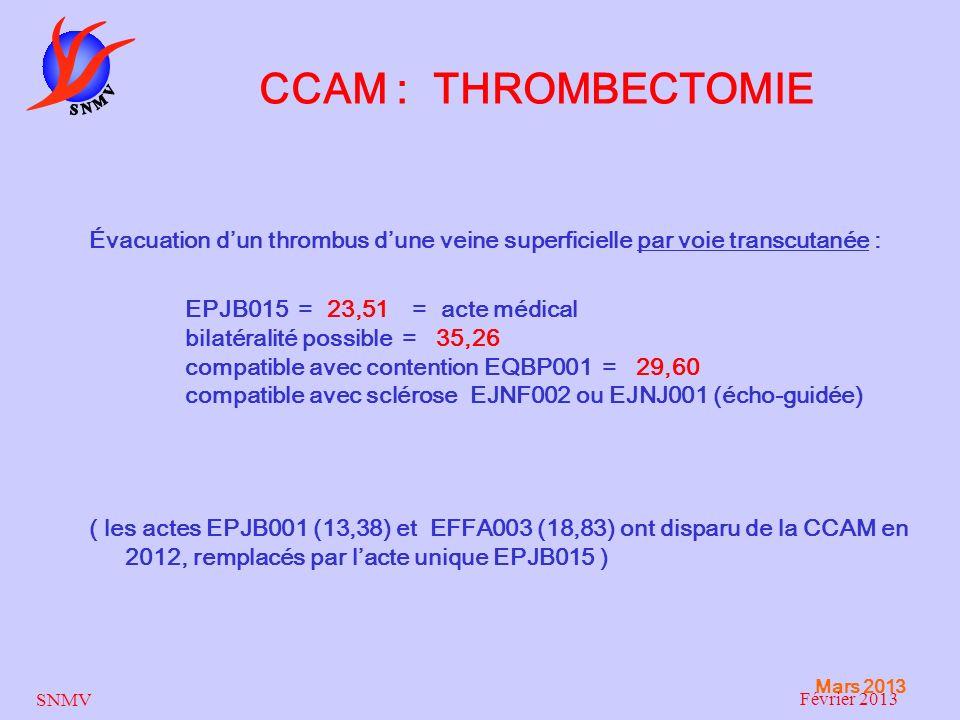 CCAM : THROMBECTOMIE Évacuation d'un thrombus d'une veine superficielle par voie transcutanée :