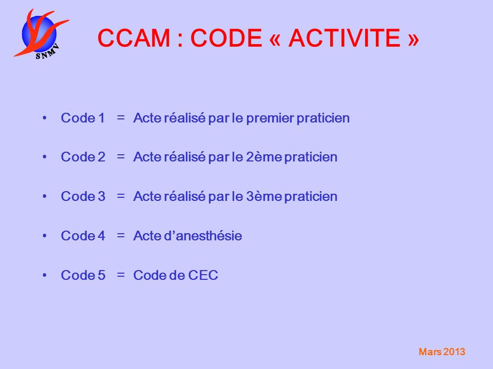 CCAM : CODE « ACTIVITE » Code 1 = Acte réalisé par le premier praticien. Code 2 = Acte réalisé par le 2ème praticien.