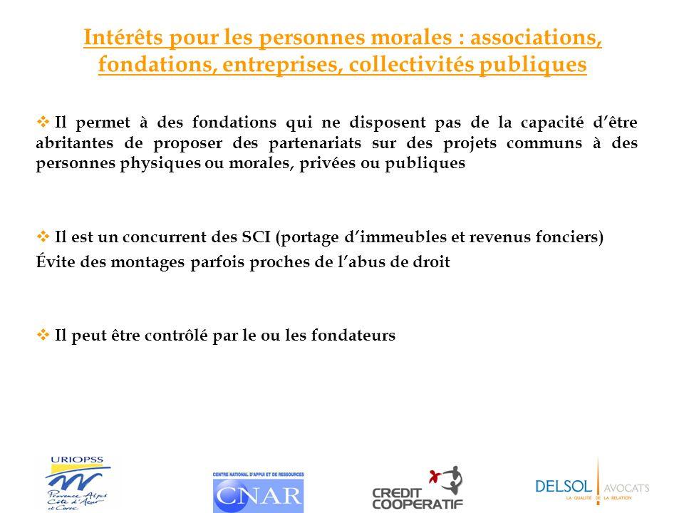 Intérêts pour les personnes morales : associations, fondations, entreprises, collectivités publiques