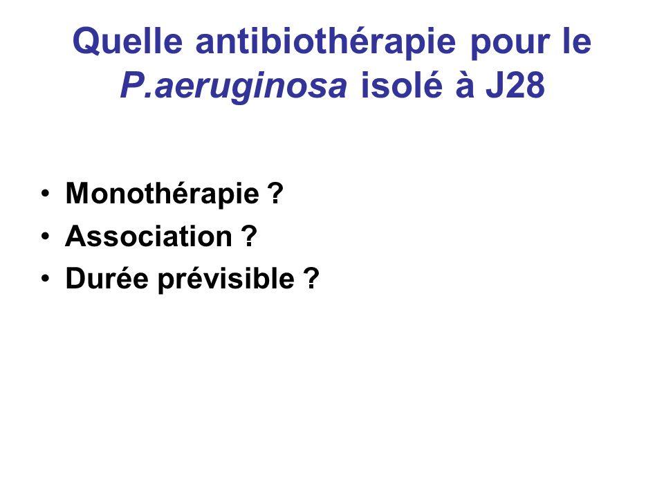 Quelle antibiothérapie pour le P.aeruginosa isolé à J28