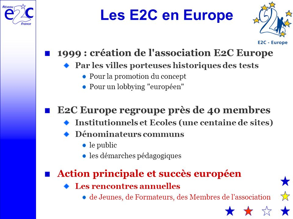 Les E2C en Europe 1999 : création de l association E2C Europe