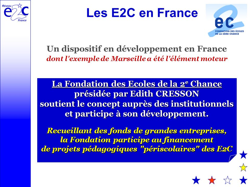 Les E2C en France Un dispositif en développement en France