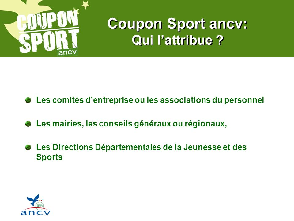Coupon Sport ancv: Qui l'attribue