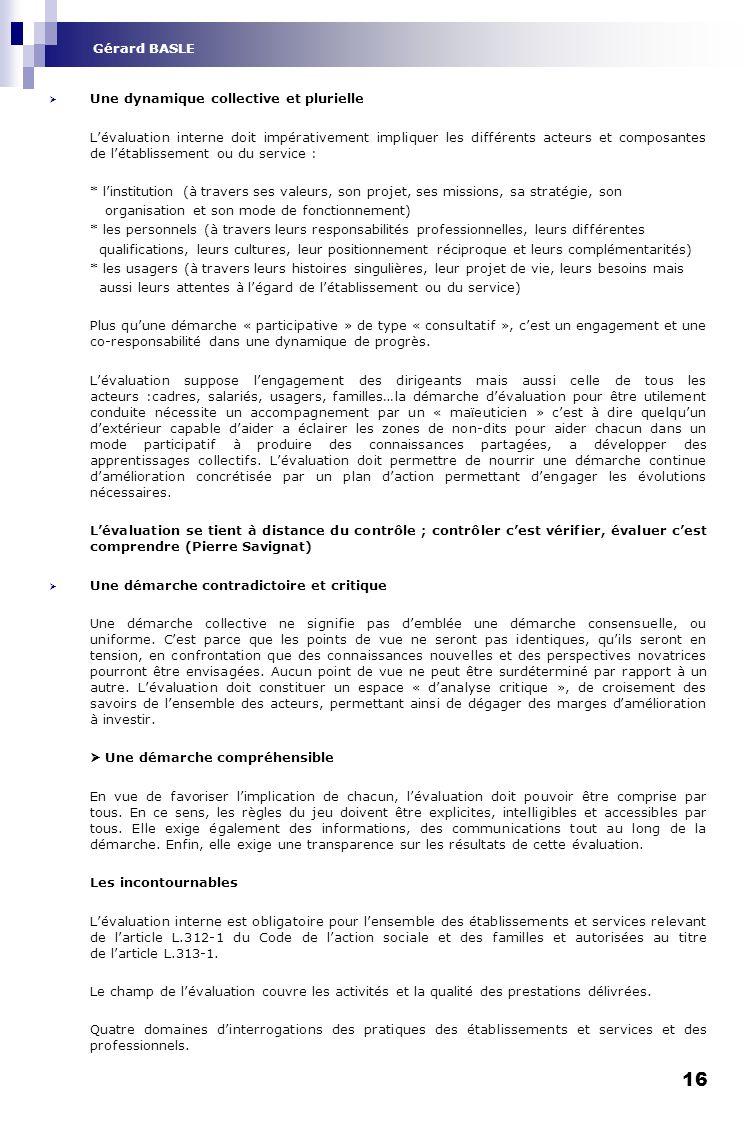 Gérard BASLE Une dynamique collective et plurielle.