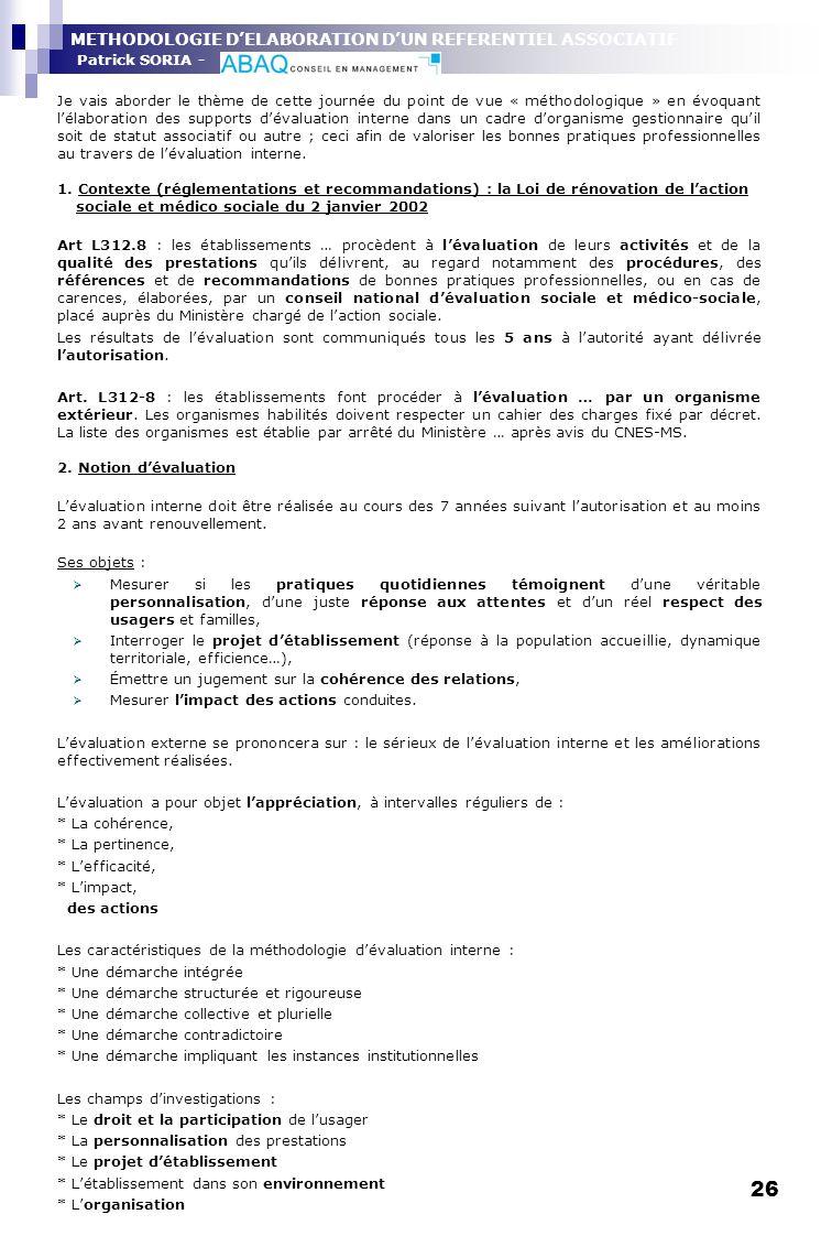 METHODOLOGIE D'ELABORATION D'UN REFERENTIEL ASSOCIATIF Patrick SORIA -