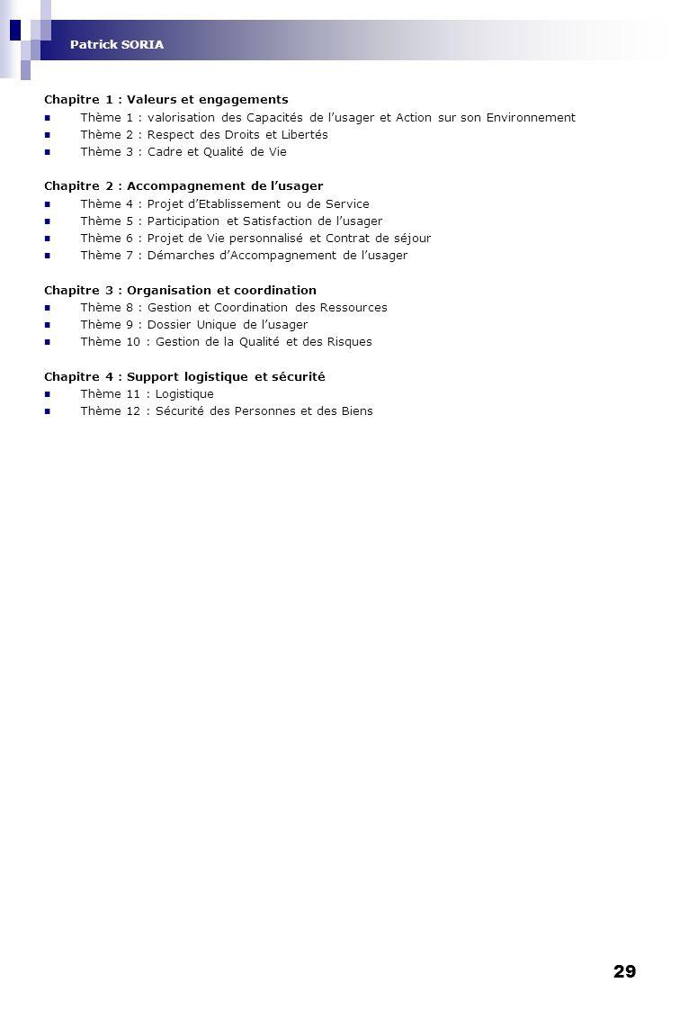 Patrick SORIA Chapitre 1 : Valeurs et engagements. Thème 1 : valorisation des Capacités de l'usager et Action sur son Environnement.