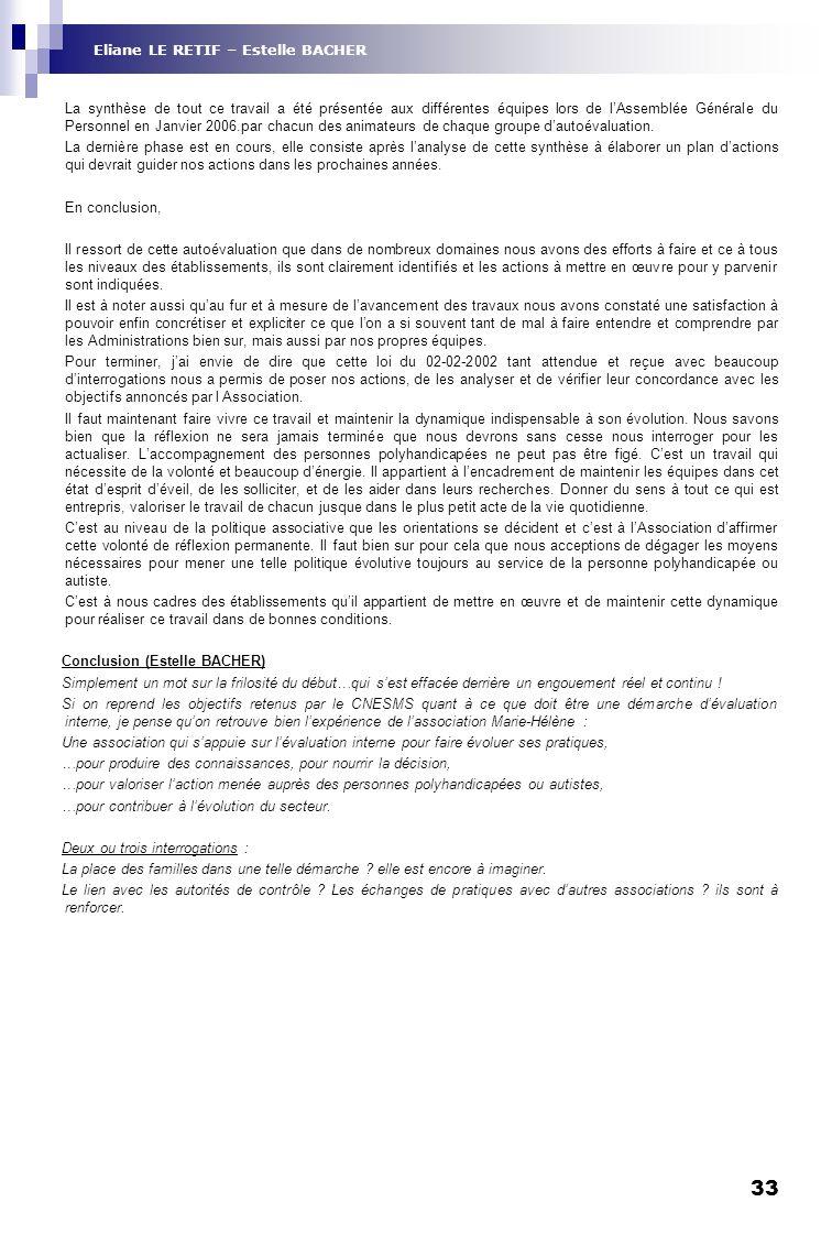 Eliane LE RETIF – Estelle BACHER