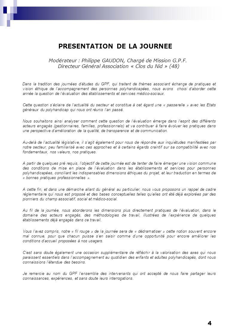 PRESENTATION DE LA JOURNEE