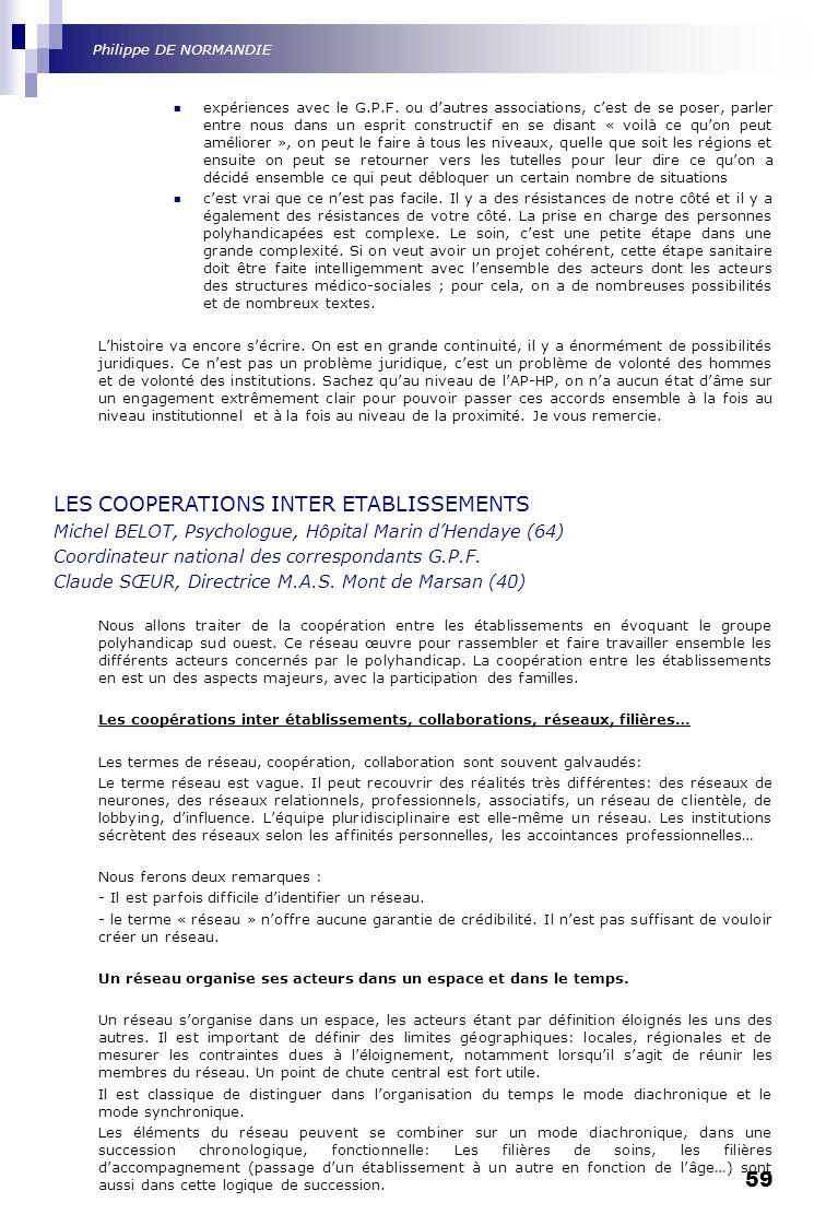 LES COOPERATIONS INTER ETABLISSEMENTS