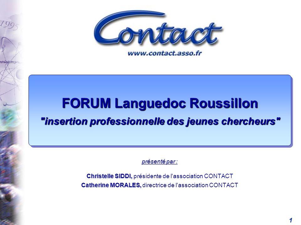 FORUM Languedoc Roussillon insertion professionnelle des jeunes chercheurs