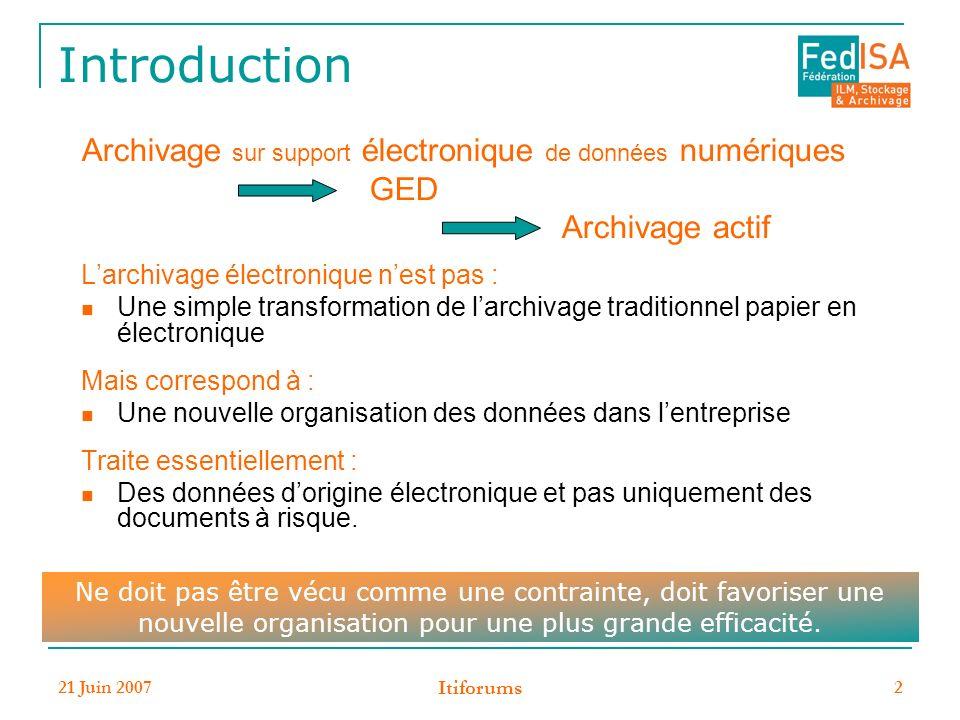 Introduction Archivage sur support électronique de données numériques