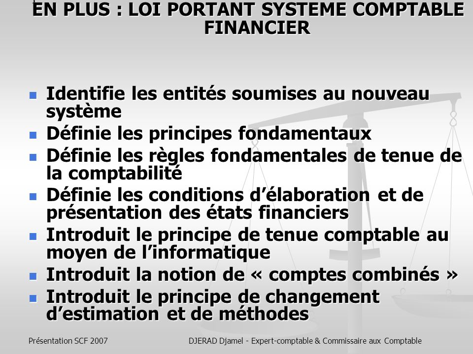 ُEN PLUS : LOI PORTANT SYSTEME COMPTABLE FINANCIER