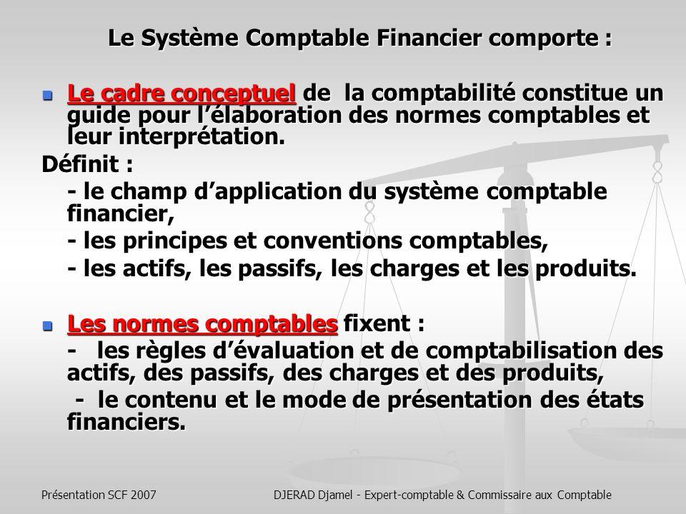 Le Système Comptable Financier comporte :