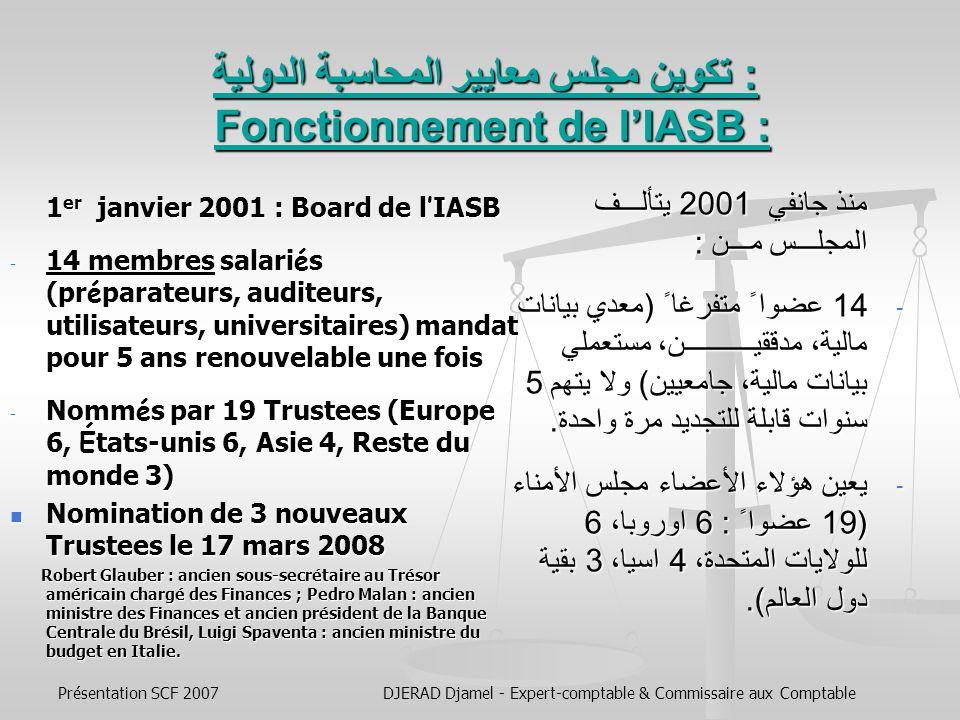 تكوين مجلس معايير المحاسبة الدولية : Fonctionnement de l'IASB :