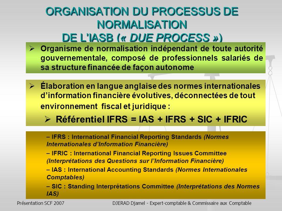 ORGANISATION DU PROCESSUS DE NORMALISATION DE L'IASB (« DUE PROCESS »)