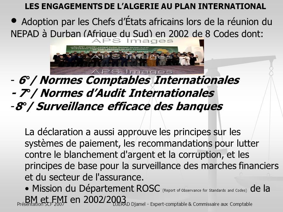 LES ENGAGEMENTS DE L'ALGERIE AU PLAN INTERNATIONAL