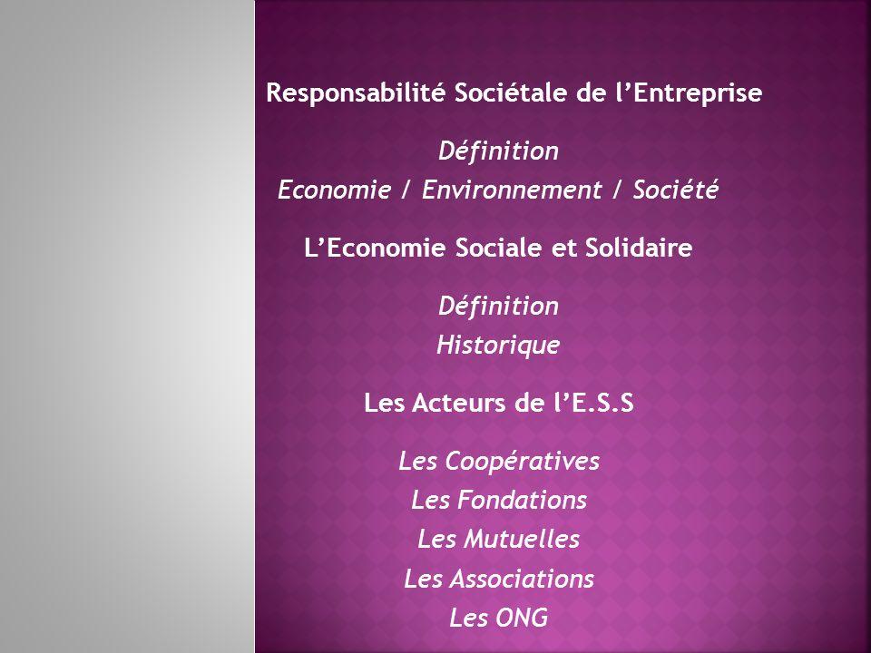 Responsabilité Sociétale de l'Entreprise Définition
