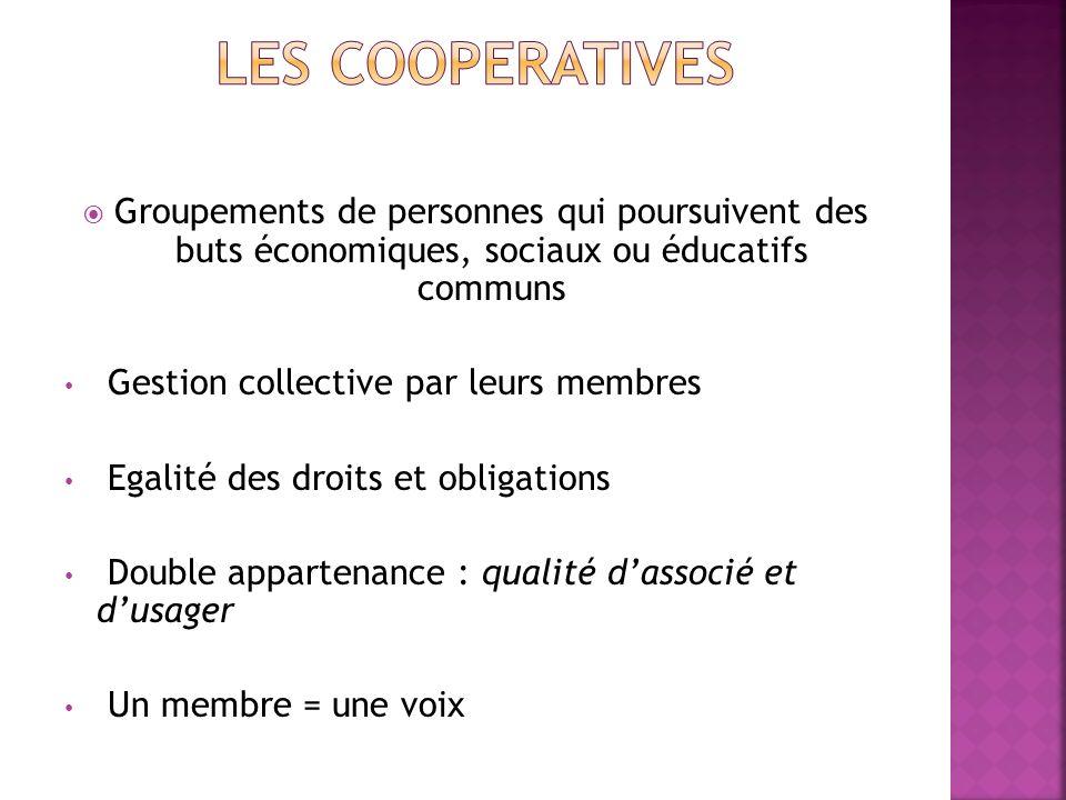 LES COOPERATIVES Groupements de personnes qui poursuivent des buts économiques, sociaux ou éducatifs communs.