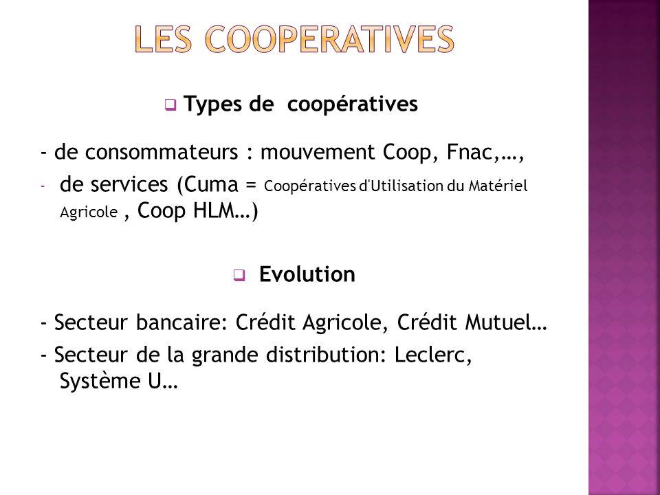 LES COOPERATIVES Types de coopératives