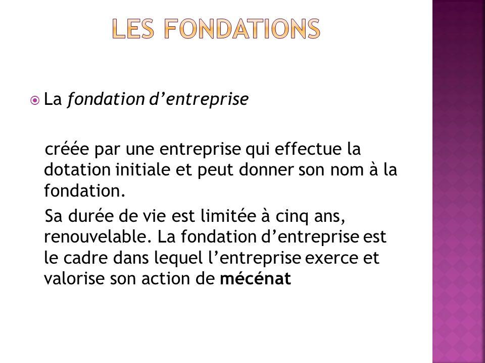 LES fondations La fondation d'entreprise