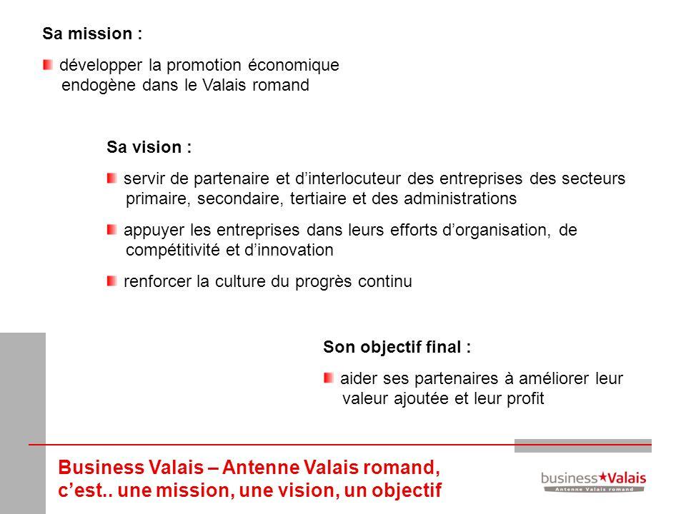 Sa mission : développer la promotion économique endogène dans le Valais romand. Sa vision :