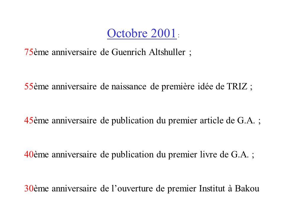 Octobre 2001 : 75ème anniversaire de Guenrich Altshuller ;