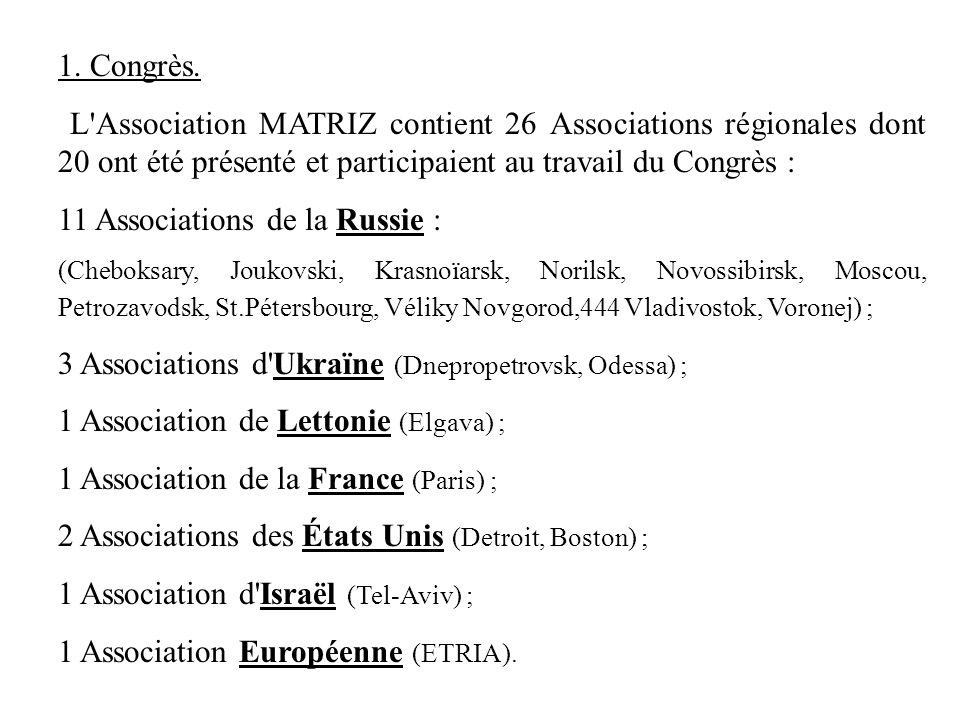 11 Associations de la Russie :
