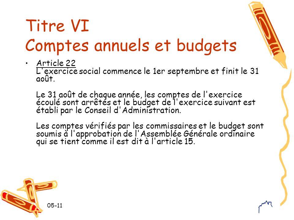 Titre VI Comptes annuels et budgets