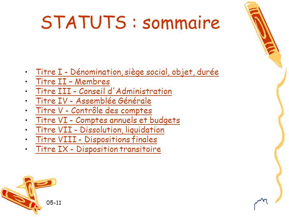 STATUTS : sommaire Titre I - Dénomination, siège social, objet, durée