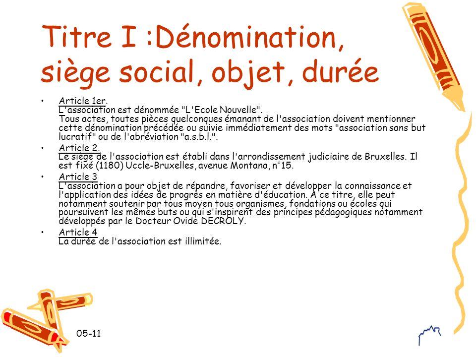 Titre I :Dénomination, siège social, objet, durée