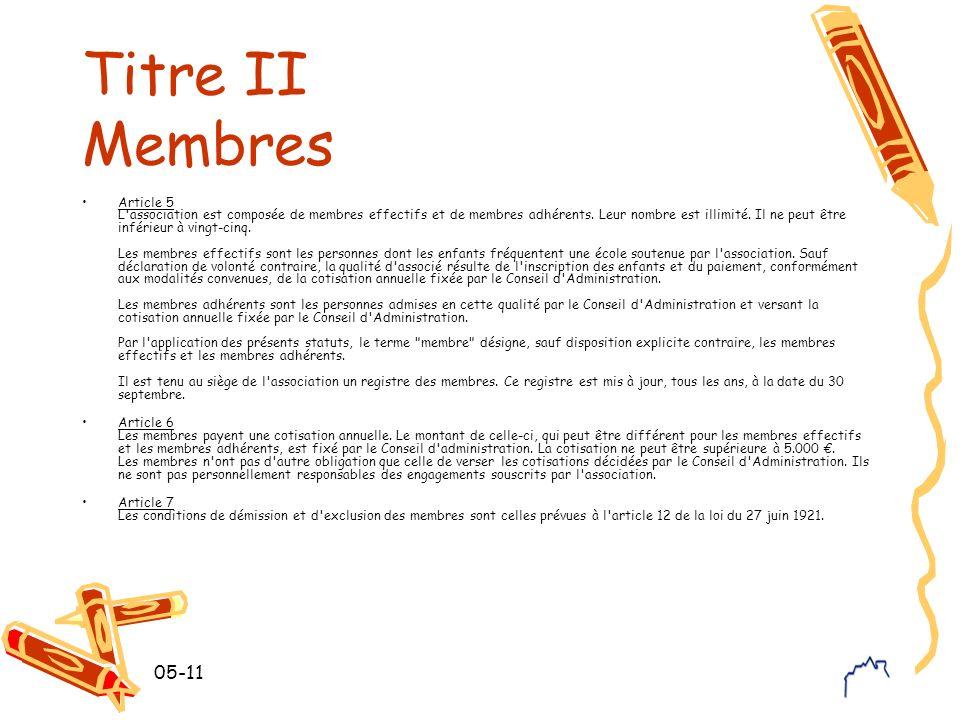 Titre II Membres
