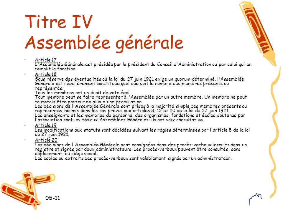Titre IV Assemblée générale