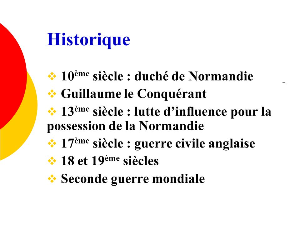 Historique 10ème siècle : duché de Normandie Guillaume le Conquérant