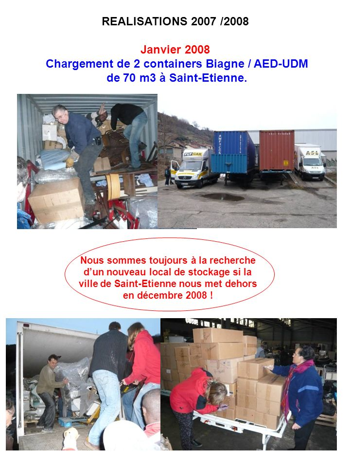Chargement de 2 containers Biagne / AED-UDM