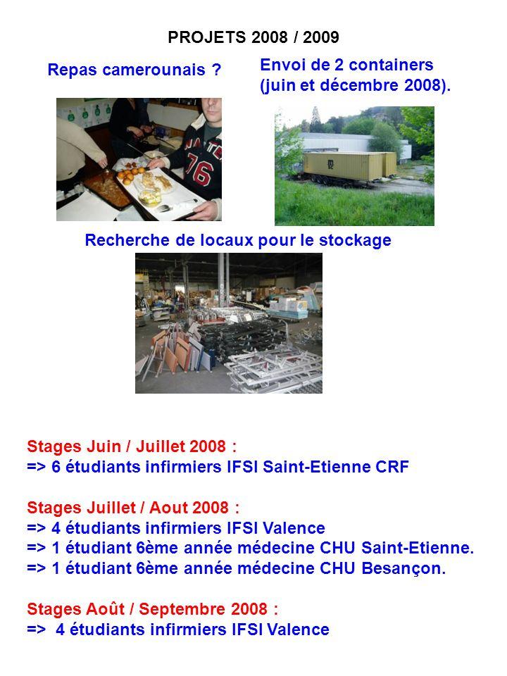 PROJETS 2008 / 2009 Envoi de 2 containers. (juin et décembre 2008). Repas camerounais Recherche de locaux pour le stockage.