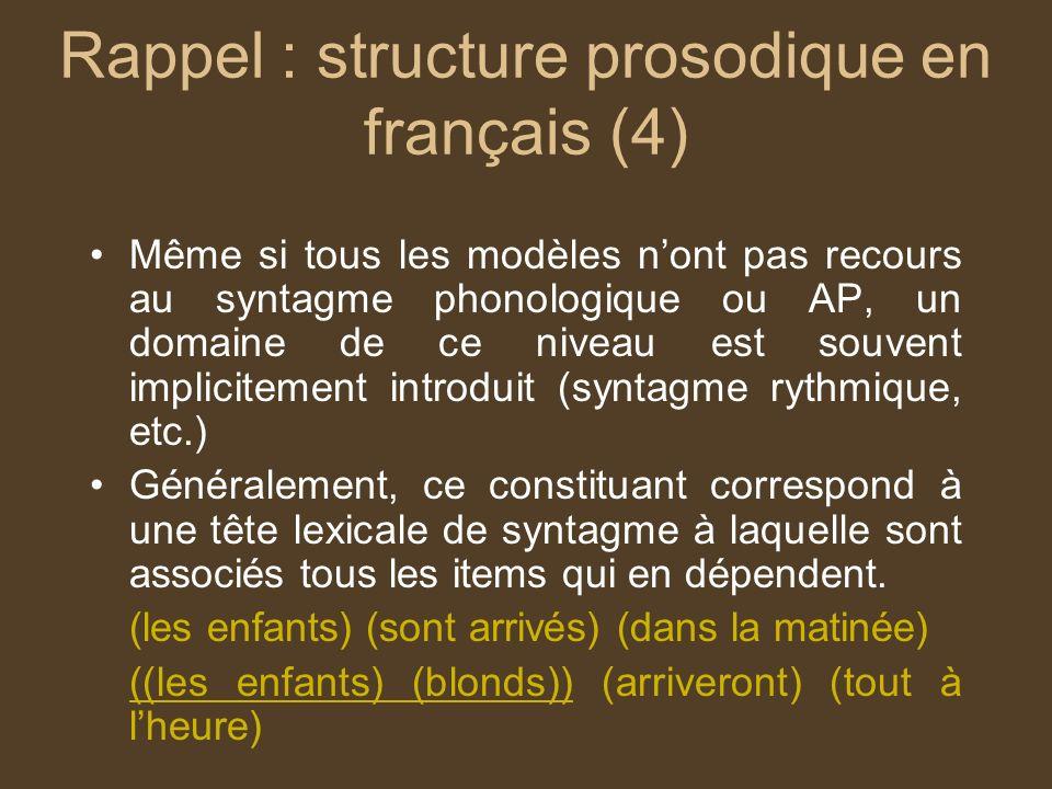 Rappel : structure prosodique en français (4)