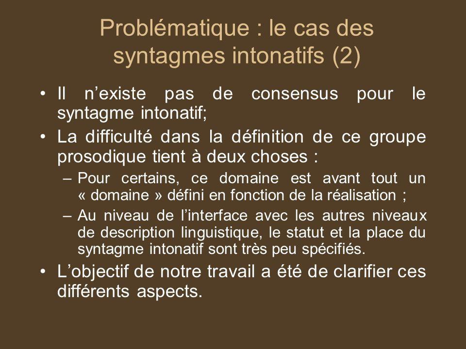 Problématique : le cas des syntagmes intonatifs (2)