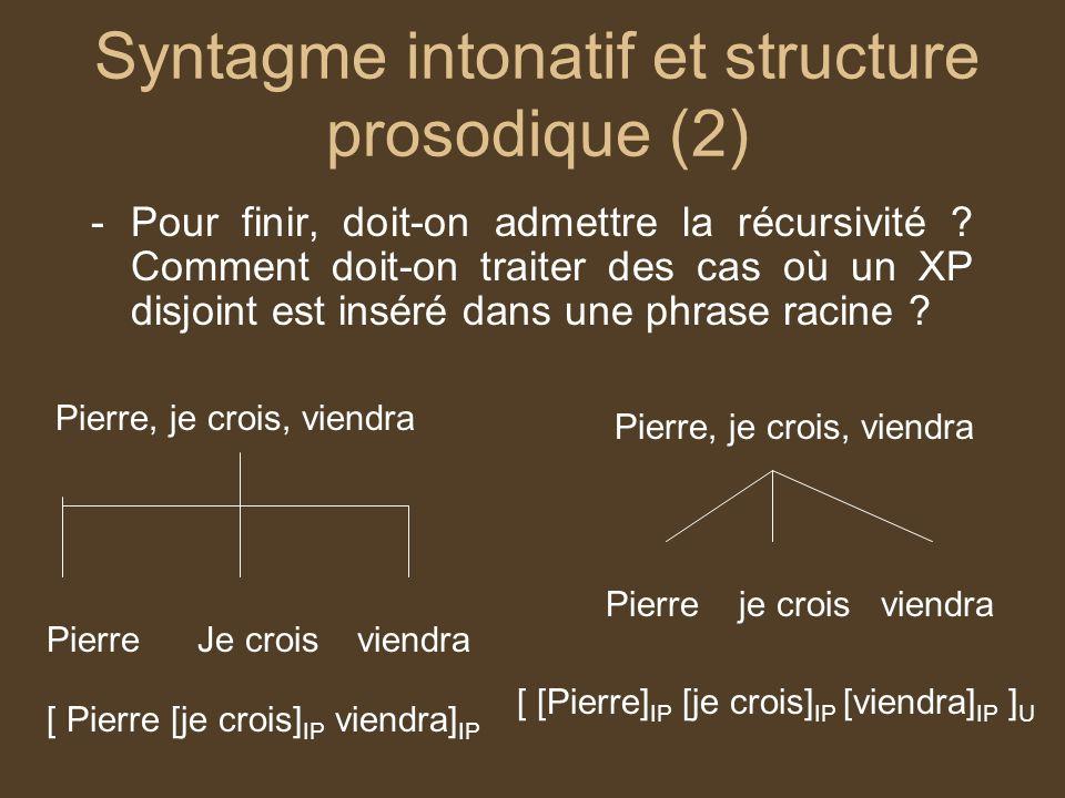 Syntagme intonatif et structure prosodique (2)