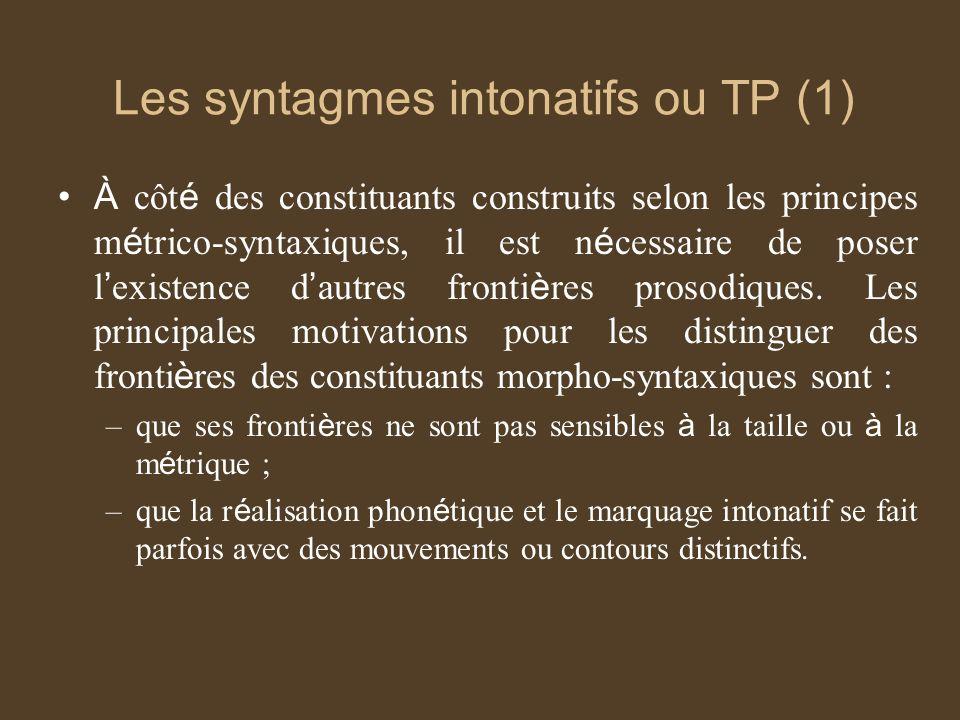 Les syntagmes intonatifs ou TP (1)