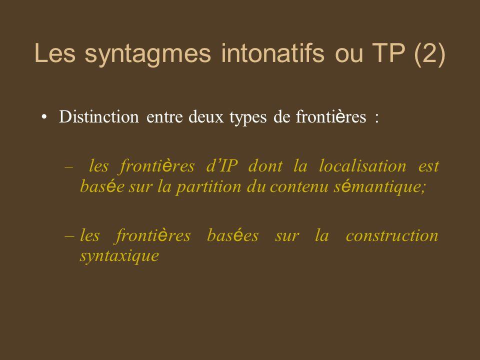 Les syntagmes intonatifs ou TP (2)