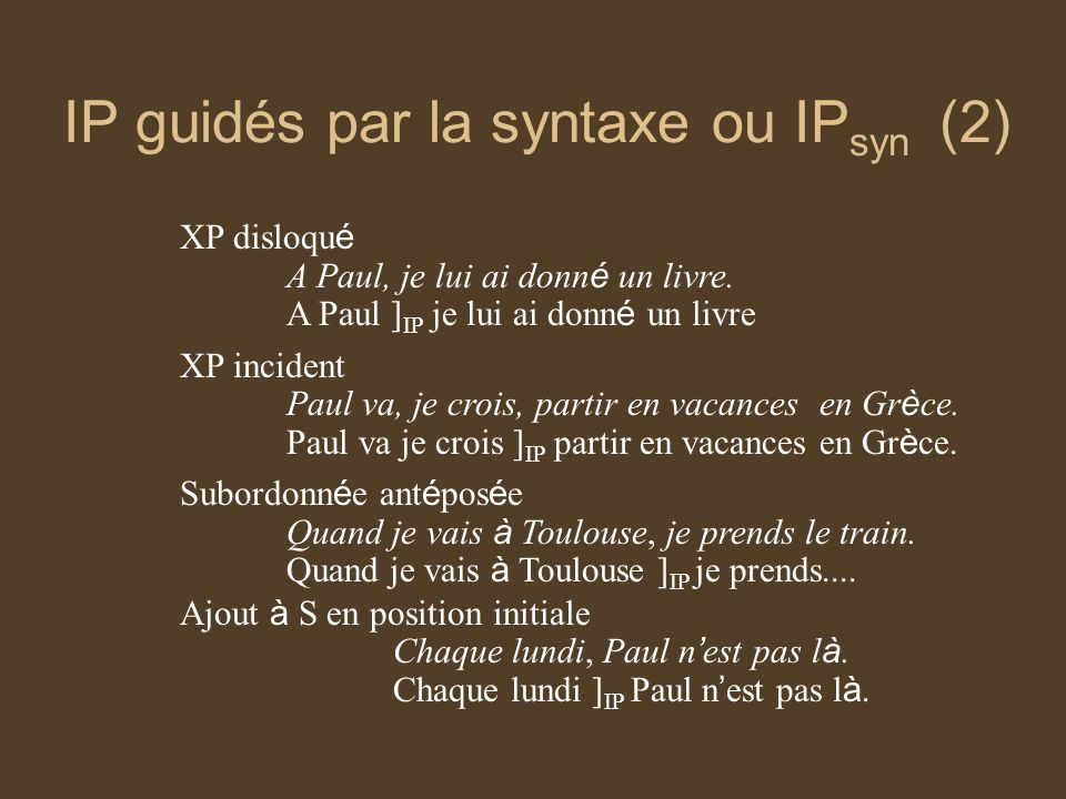 IP guidés par la syntaxe ou IPsyn (2)