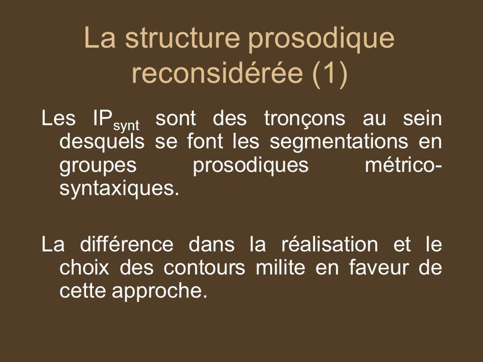 La structure prosodique reconsidérée (1)