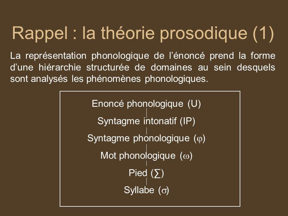 Rappel : la théorie prosodique (1)