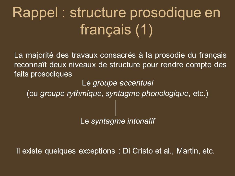 Rappel : structure prosodique en français (1)