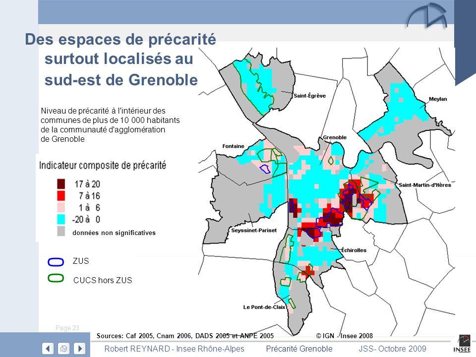 Des espaces de précarité surtout localisés au sud-est de Grenoble