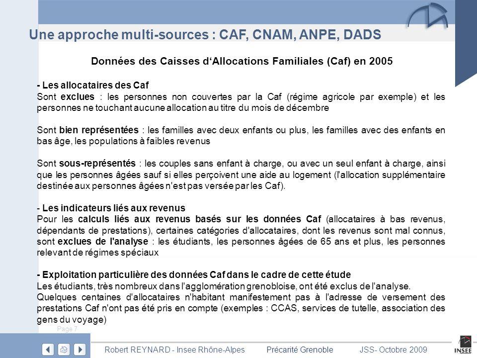 Données des Caisses d'Allocations Familiales (Caf) en 2005
