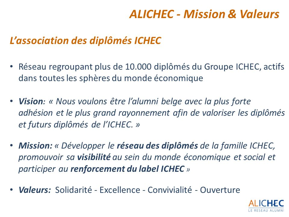 ALICHEC - Mission & Valeurs