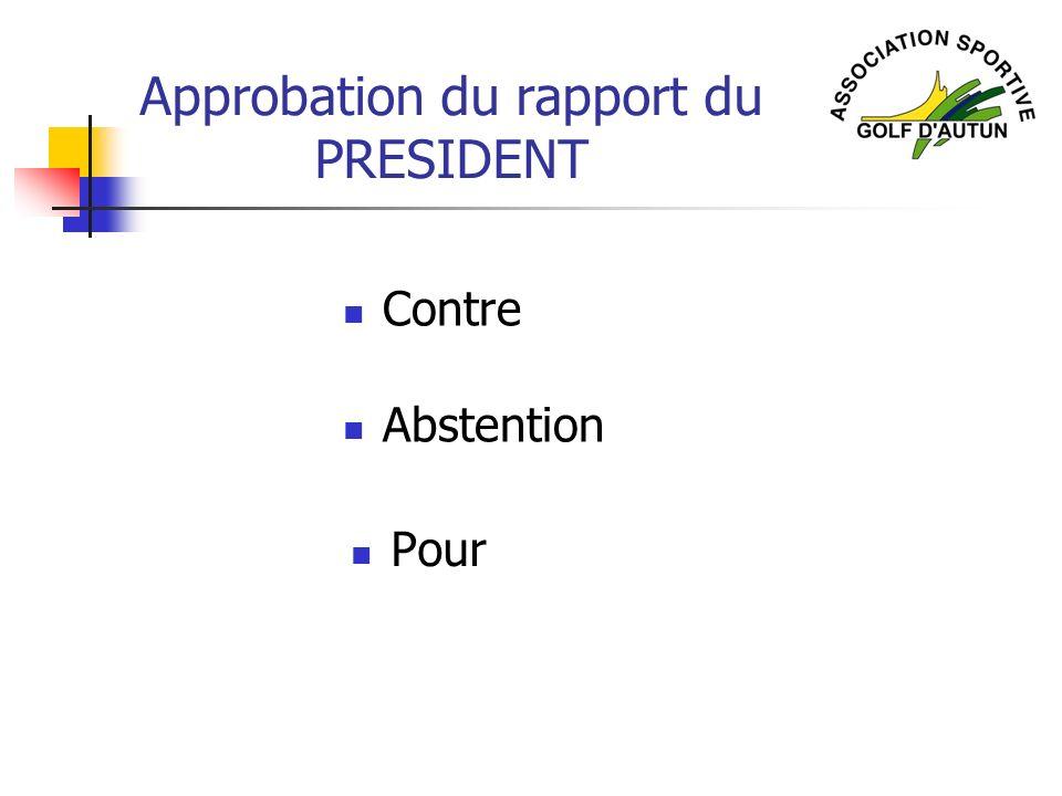 Approbation du rapport du PRESIDENT