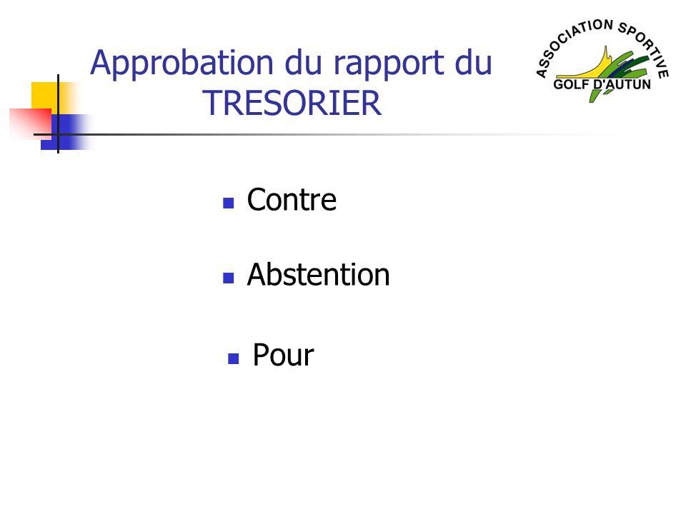 Approbation du rapport du TRESORIER